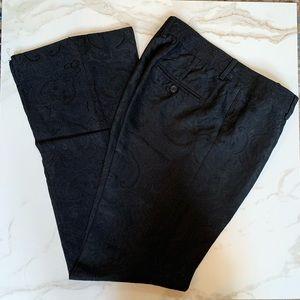 Express Editor Wide Leg Black Paisley Dress Pants